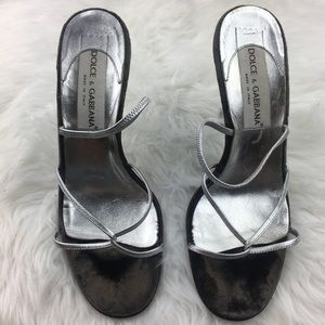 Dolce and Gabbana silver sandals